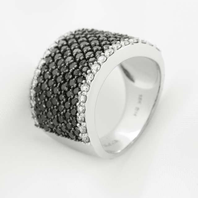 """White Gold Ring With Black Diamonds On Soft Background"" stock image"