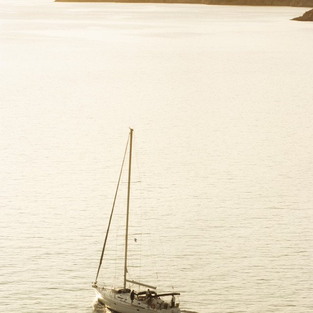 """Sail Boat Near Dubrovnik At Sunset"" stock image"