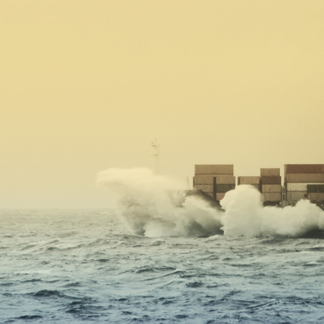 """Splashing Waves On A Cargo Ship At Open Sea"" stock image"