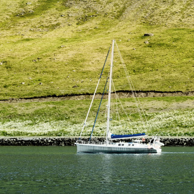 """Sail Boat And Scenic Landscape, Iceland"" stock image"