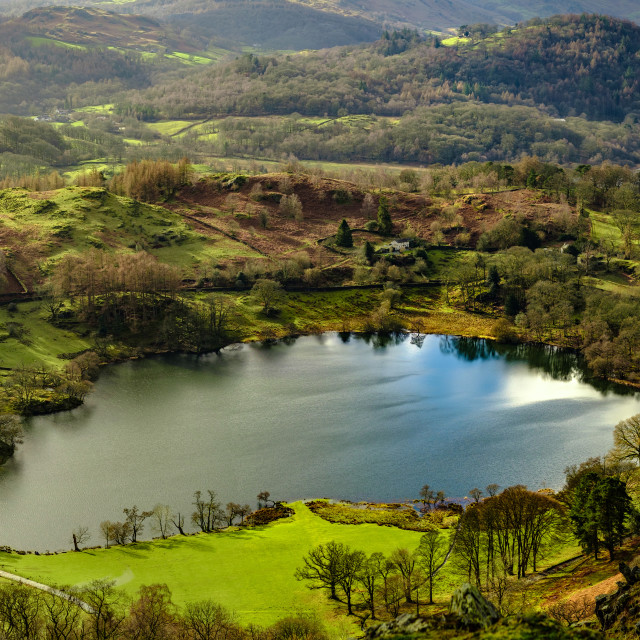 """""""Loughrigg Tarn from Loughrigg Fell"""" stock image"""