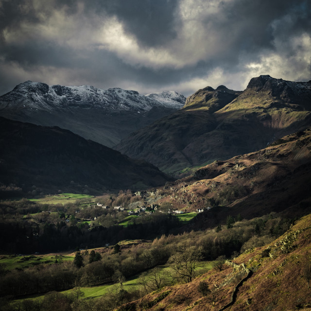 """""""View of the Langdale Pikes from Loughrigg Fell"""" stock image"""