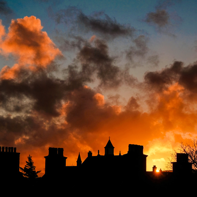"""Fiery Sunset Over Lerwick, Shetland."" stock image"