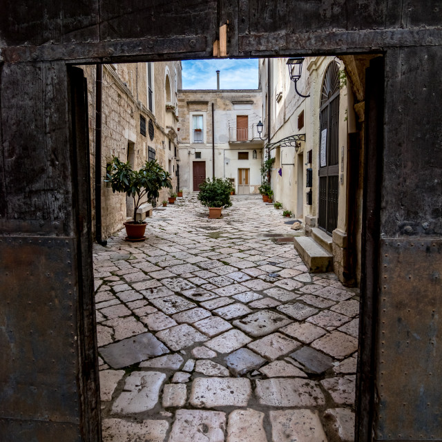 """""""Street courtyard view, old Italian town"""" stock image"""
