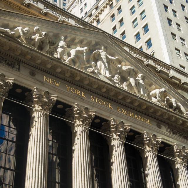 """New York Stock Exchange NYSE stone building Manhattan sign"" stock image"