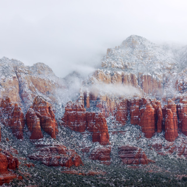 """""""Red rocks covered with snow in Sedona, Arizona."""" stock image"""