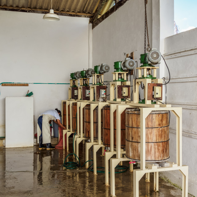 """San Lorenzo Fique Paper Factory, interior, Barichara, Santander Department,..."" stock image"