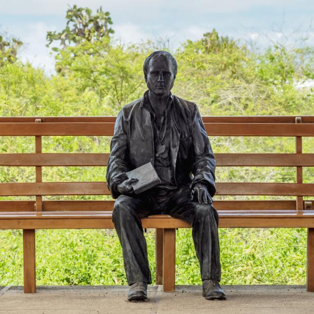 """Charles Darwin Statue, Charles Darwin Research Station, Puerto Ayora, Santa..."" stock image"