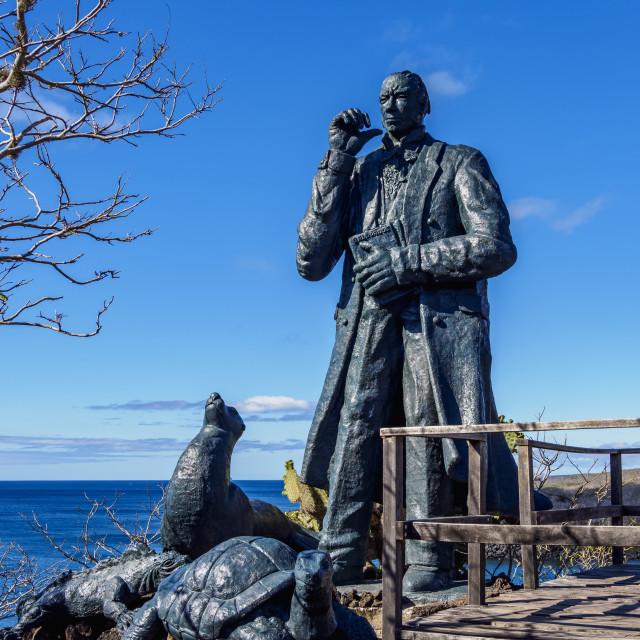 """Charles Darwin Statue, Cerro Tijeretas, San Cristobal or Chatham Island,..."" stock image"