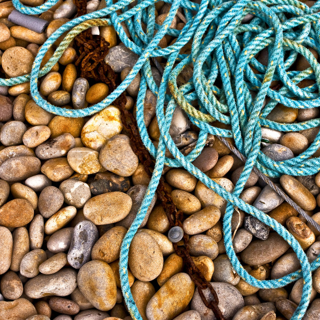 """""""Blue Rope and Pebbles, Chesil"""" stock image"""
