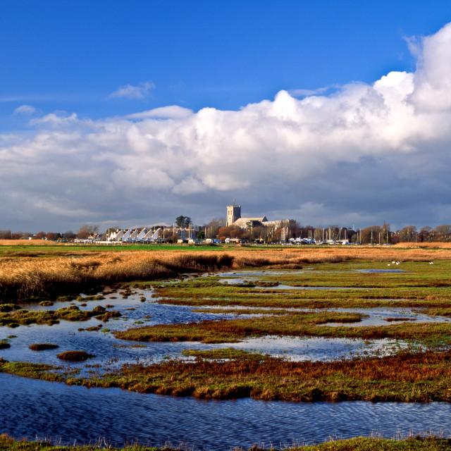 """Christchurch across Stanpit Marsh"" stock image"