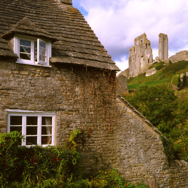 """""""Corfe Castle and Cottage"""" stock image"""