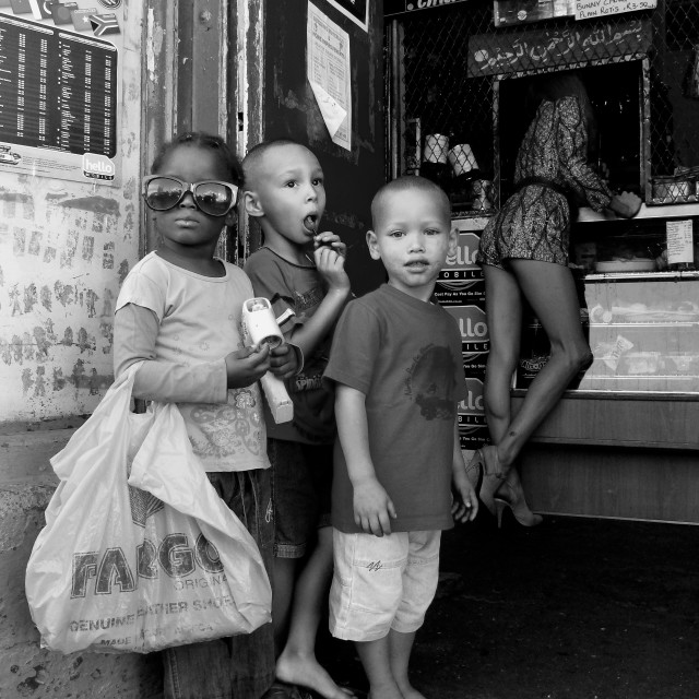 """South African kids at a Shop in Woodstock in Cape Town South Africa"" stock image"
