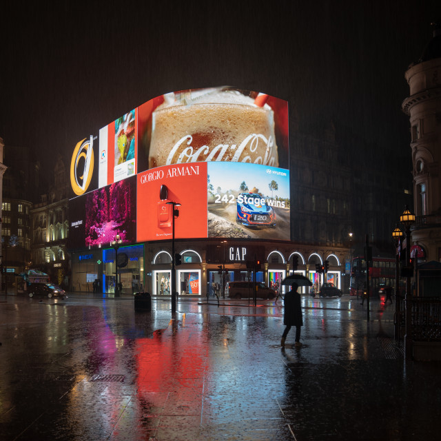 """""""Piccadilly Circus on a rainy night"""" stock image"""