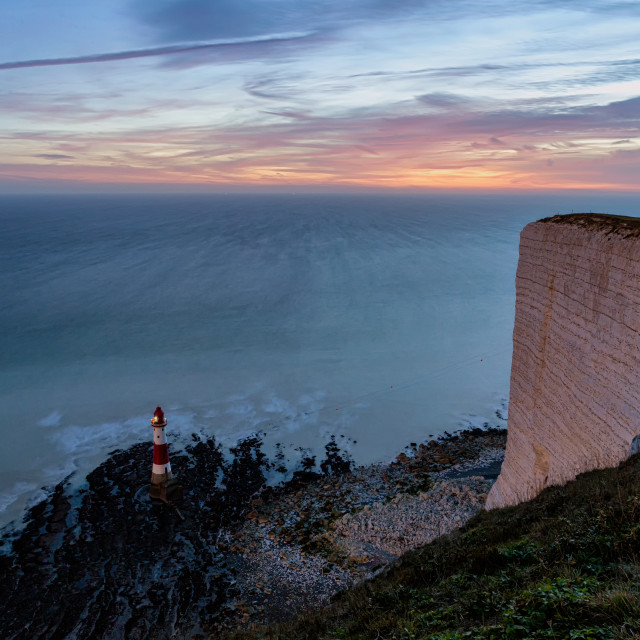 """""""Eerie light from the Snow Moon at Beachy Head"""" stock image"""