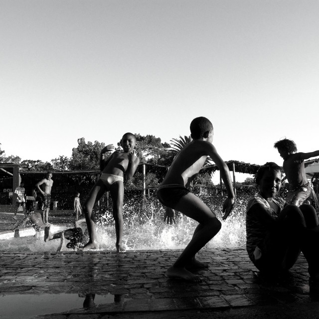 """""""South African Kids at the Pool"""" stock image"""