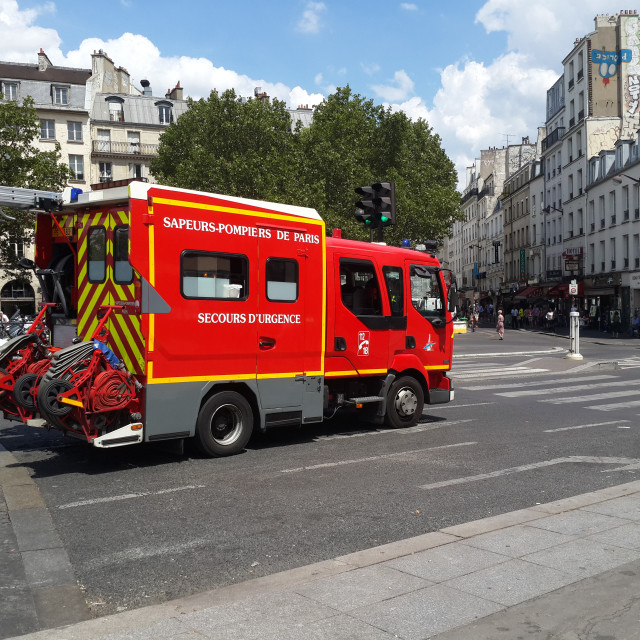 """Paris fire brigade emergency vehicle"" stock image"