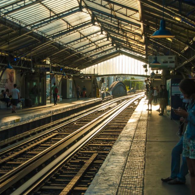 """Old metro tram station in Paris sunset sunlight evening"" stock image"