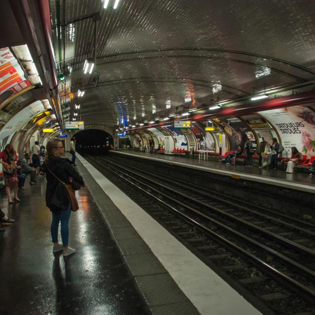 """""""Old metro underground station masonry rail"""" stock image"""