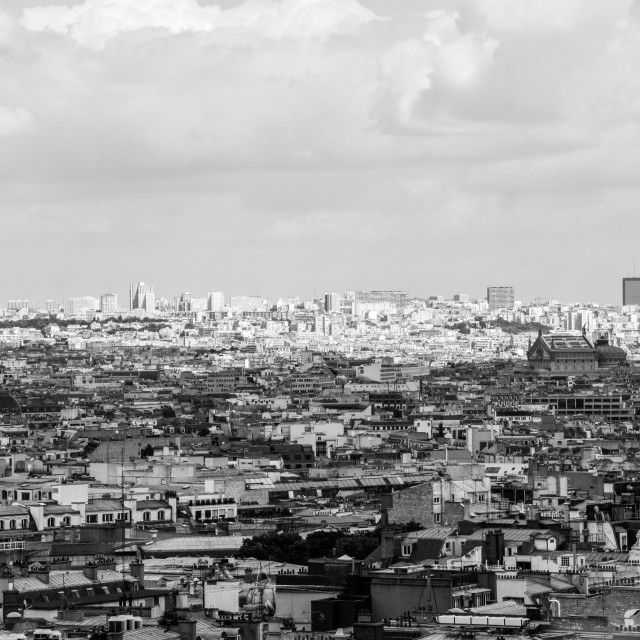 """View over Paris cloudy sky city center France"" stock image"