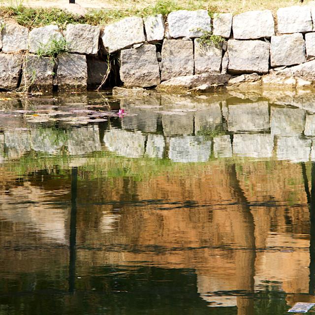 """Wall around Water Pond"" stock image"