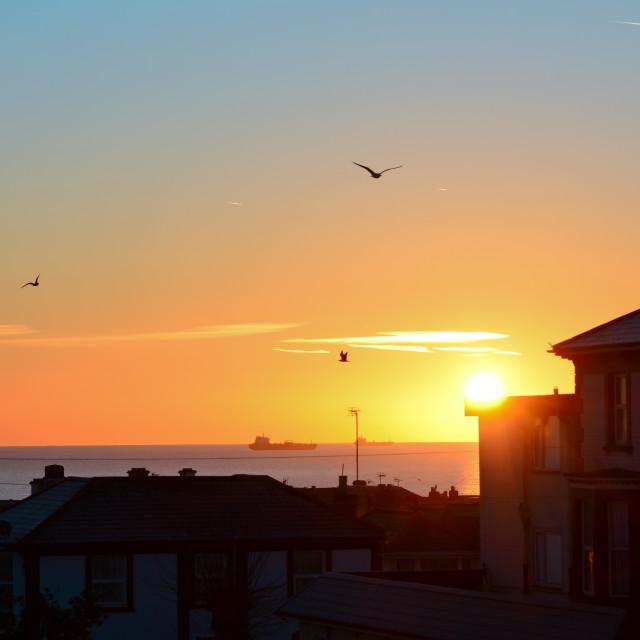 """""""Sleepy Sunrise Over Sandown"""" stock image"""