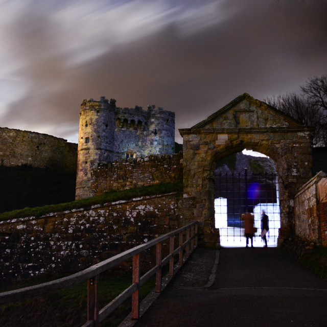 """Super Moon Rising at Carisbrooke Castle"" stock image"
