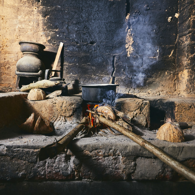 """Old home kitchen in Sri Lanka"" stock image"