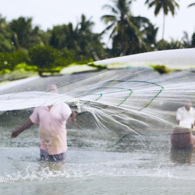 """Fishermen with fishing net"" stock image"