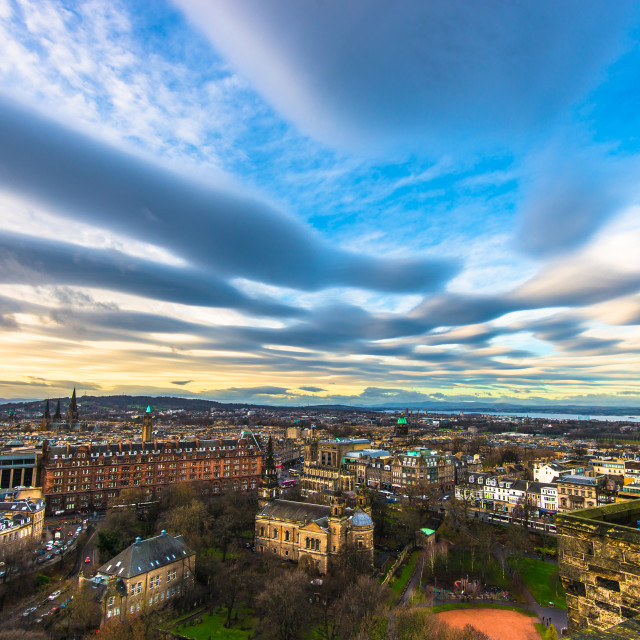 """Edinburgh Castle to Princess Garden"" stock image"