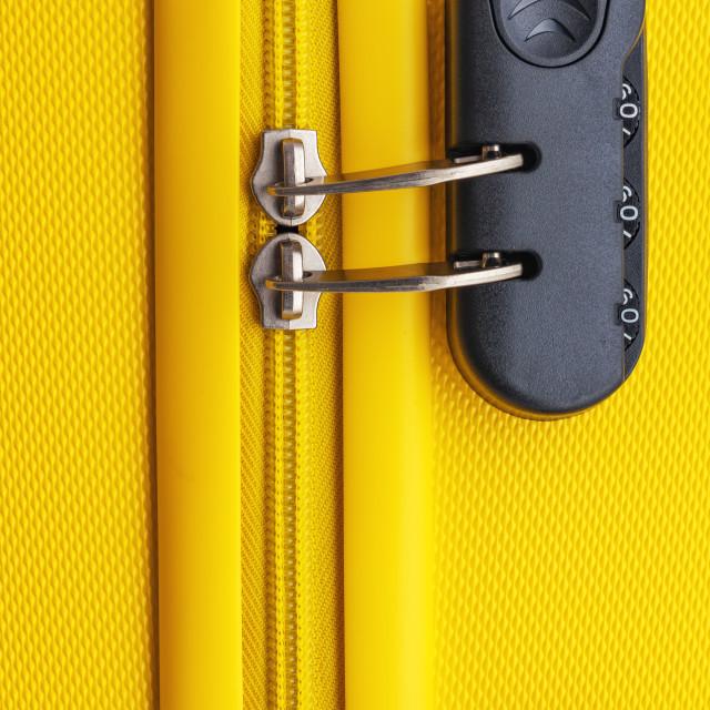 """Suitcase with luggage for flight locked. Safety transportation b"" stock image"