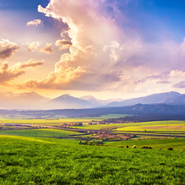 """""""Picturesque green fields and meadow landscape. Panorama of Slova"""" stock image"""
