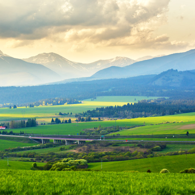 """""""Picturesque green fields and meadow landscape. Spring mountain v"""" stock image"""