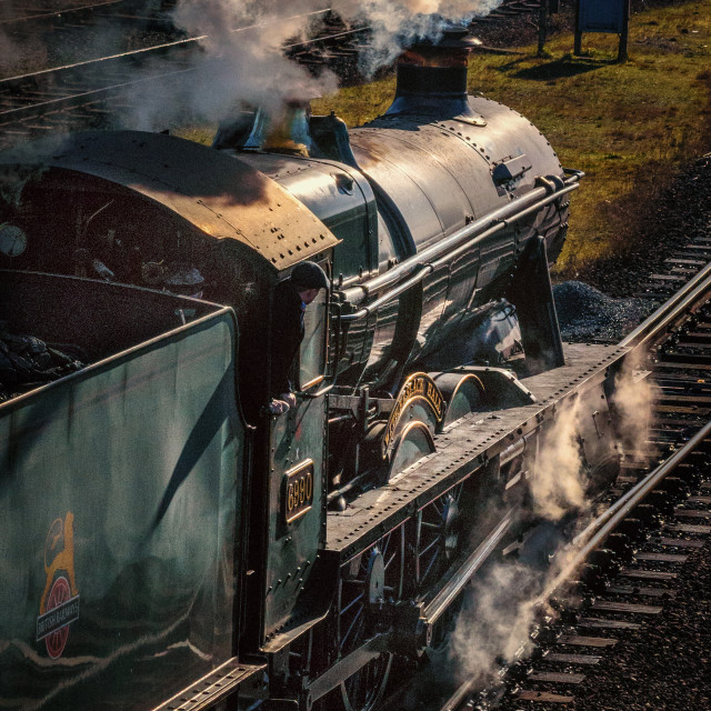 """Steam train 'Witherslack Hall' leaving Loughborough Central Station"" stock image"