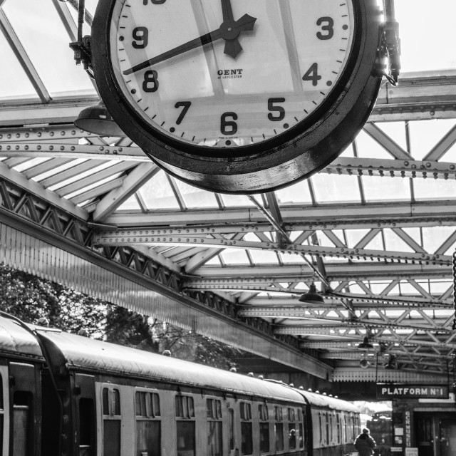 """""""Underneath the clock at Loughborough Central Station"""" stock image"""