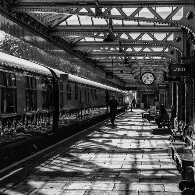 """""""The dining train waits to depart at Loughborough Central"""" stock image"""