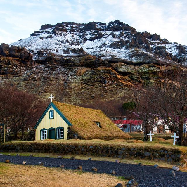 """""""Hofskirkja turf church in town of Hof in South Iceland"""" stock image"""