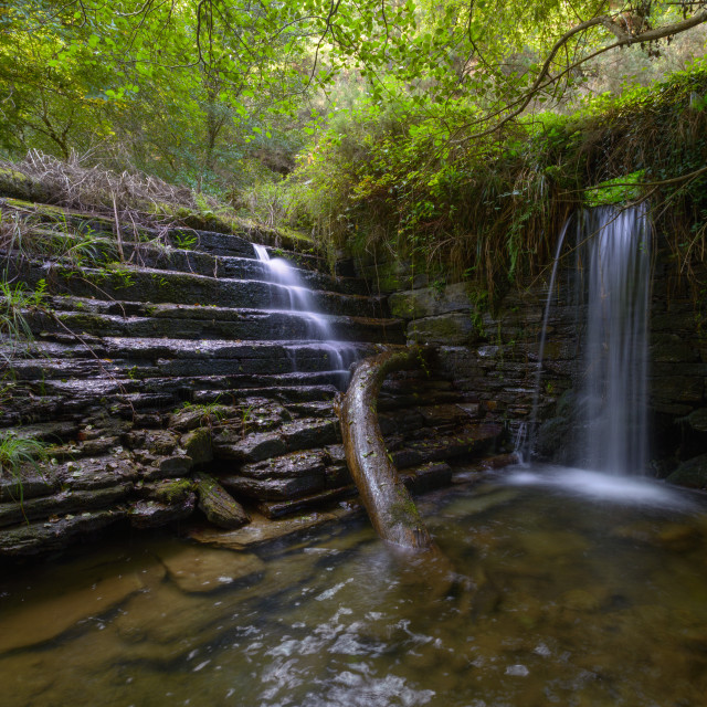 """""""Waterfall in an old traditional smithy"""" stock image"""