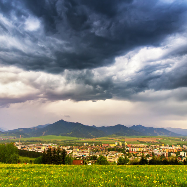 """""""Spring storm in mountains. Overcast dramatic sky"""" stock image"""