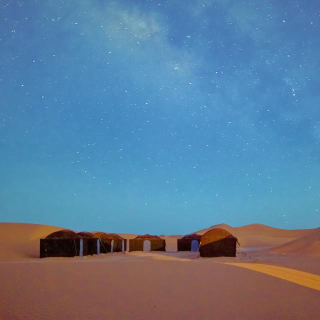 """""""Desert Camp in the Sahara Desert"""" stock image"""