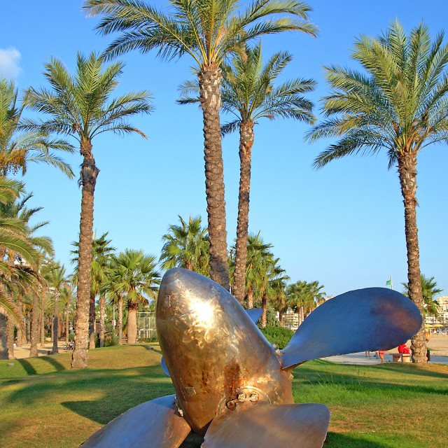 """Ships Propeller and palm trees"" stock image"