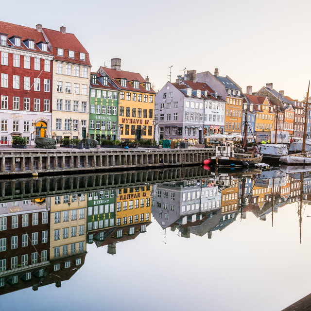 """Morning in the Copenhagen Canal Nyhavn"" stock image"