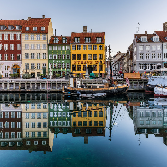 """Wonderful Copenhagen reflections in Nyhavn harbor"" stock image"
