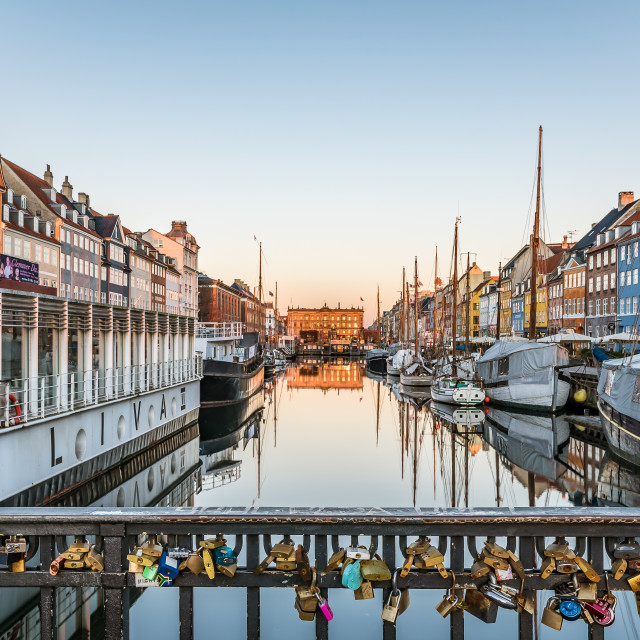 """Lovers padlocks on the Nyhavn bridge"" stock image"