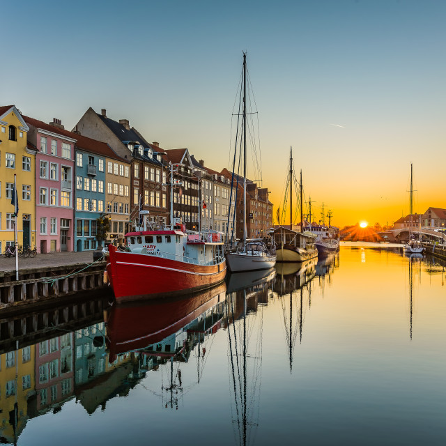"""The tranquil water of Nyhavn an early morning"" stock image"