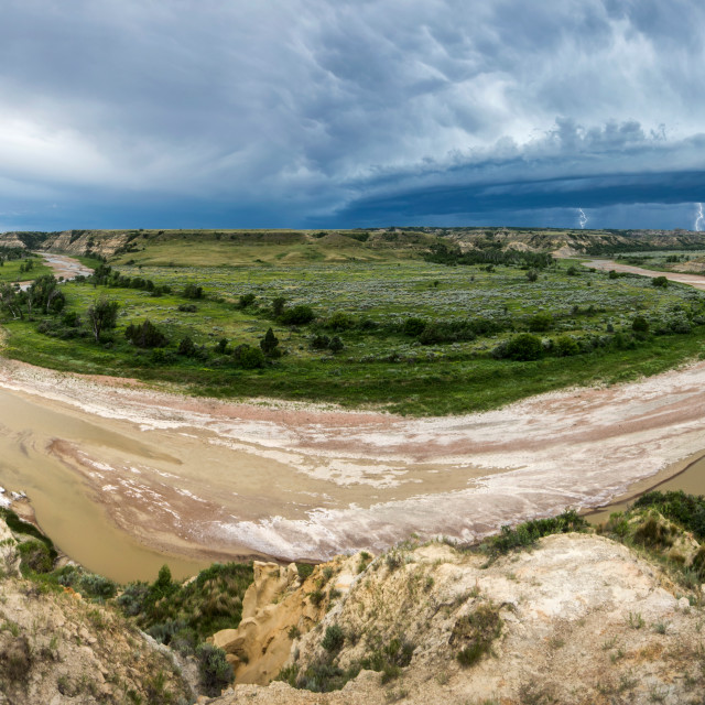 """Thunderstorm Over the Little Missouri"" stock image"