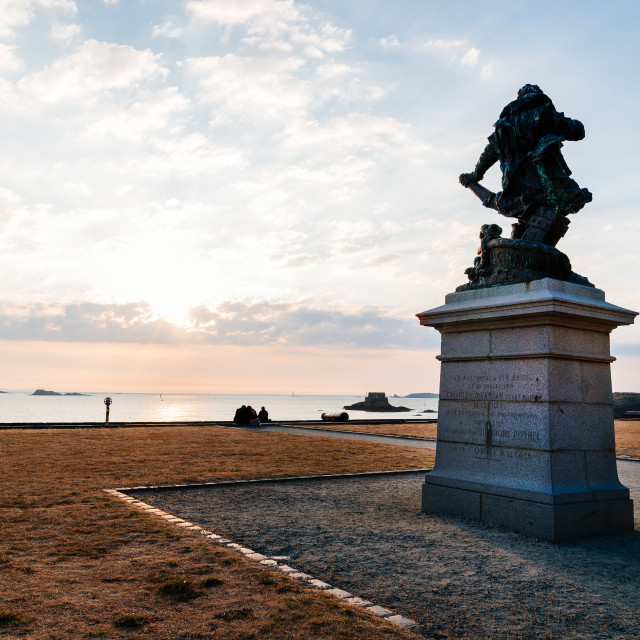 """Monument and promenade on the ramparts of Saint Malo"" stock image"