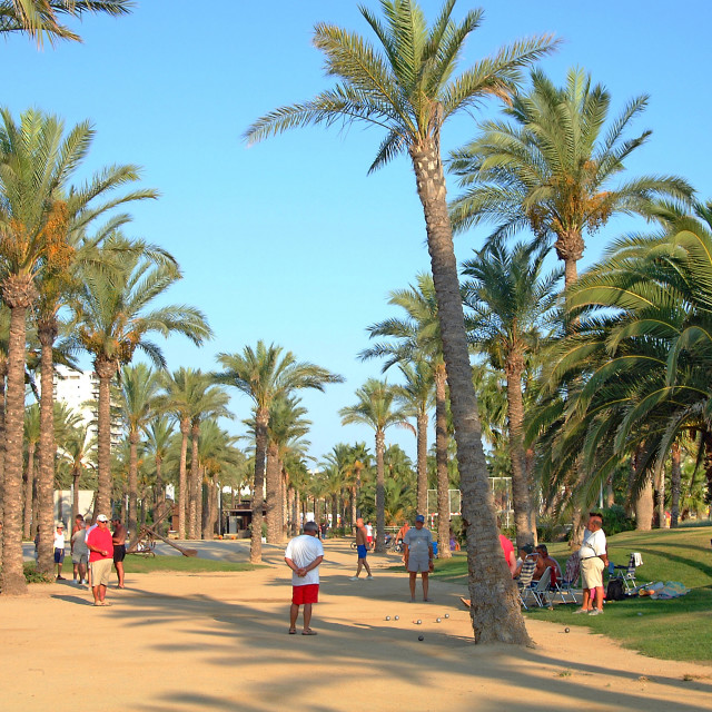 """Spanish playing boules in Salou, Spain"" stock image"