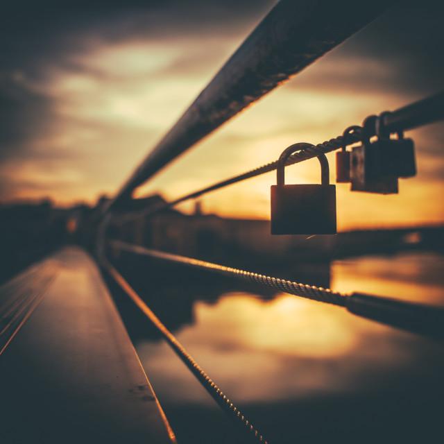 """Sunset Love Lock"" stock image"