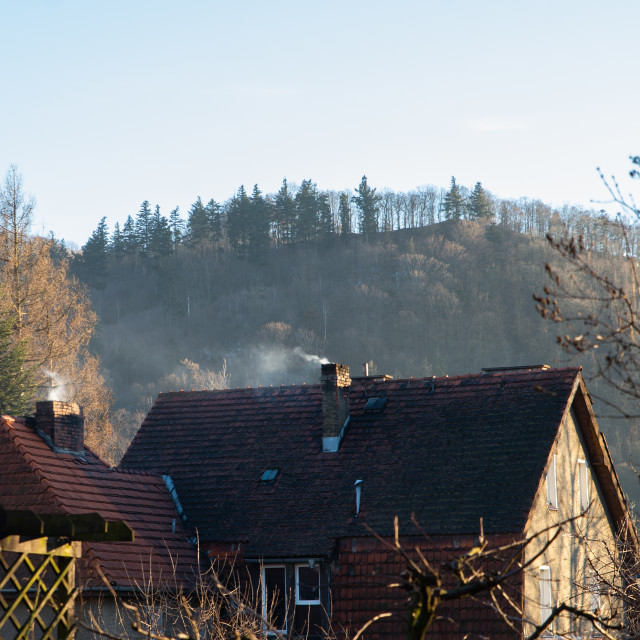 """""""poisonous smoke from the chimney in a detached house"""" stock image"""